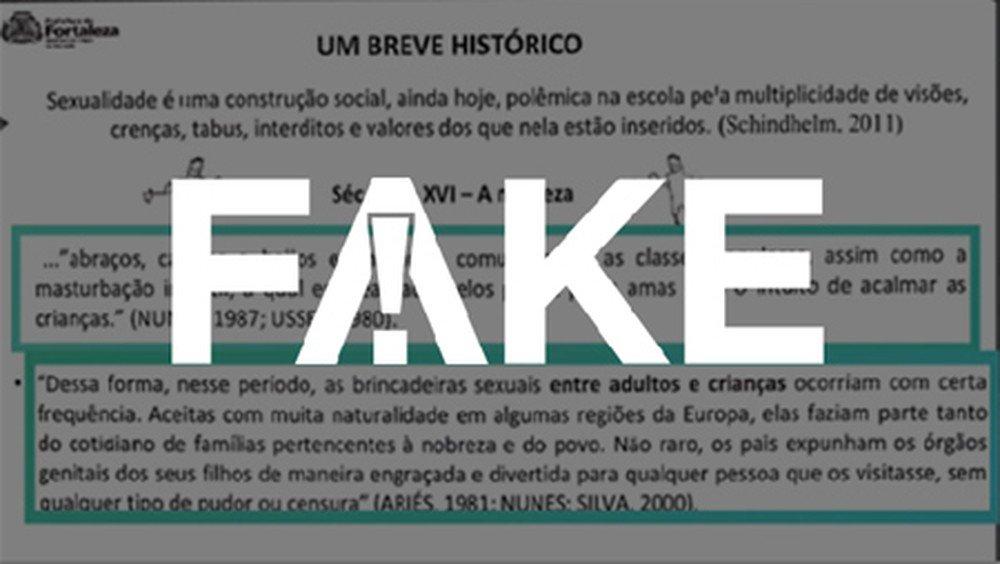É #FAKE que Prefeitura de Fortaleza distribuiu cartilha dizendo que é natural fazer masturbação infantil para acalmar as crianças https://glo.bo/2kwPO6y #FatoOuFake