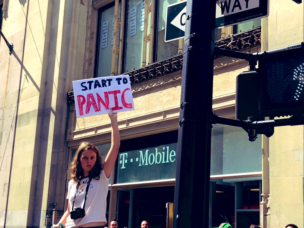 Powerful photo in front of @TMobile #ClimateStrike #NYC #TMobile