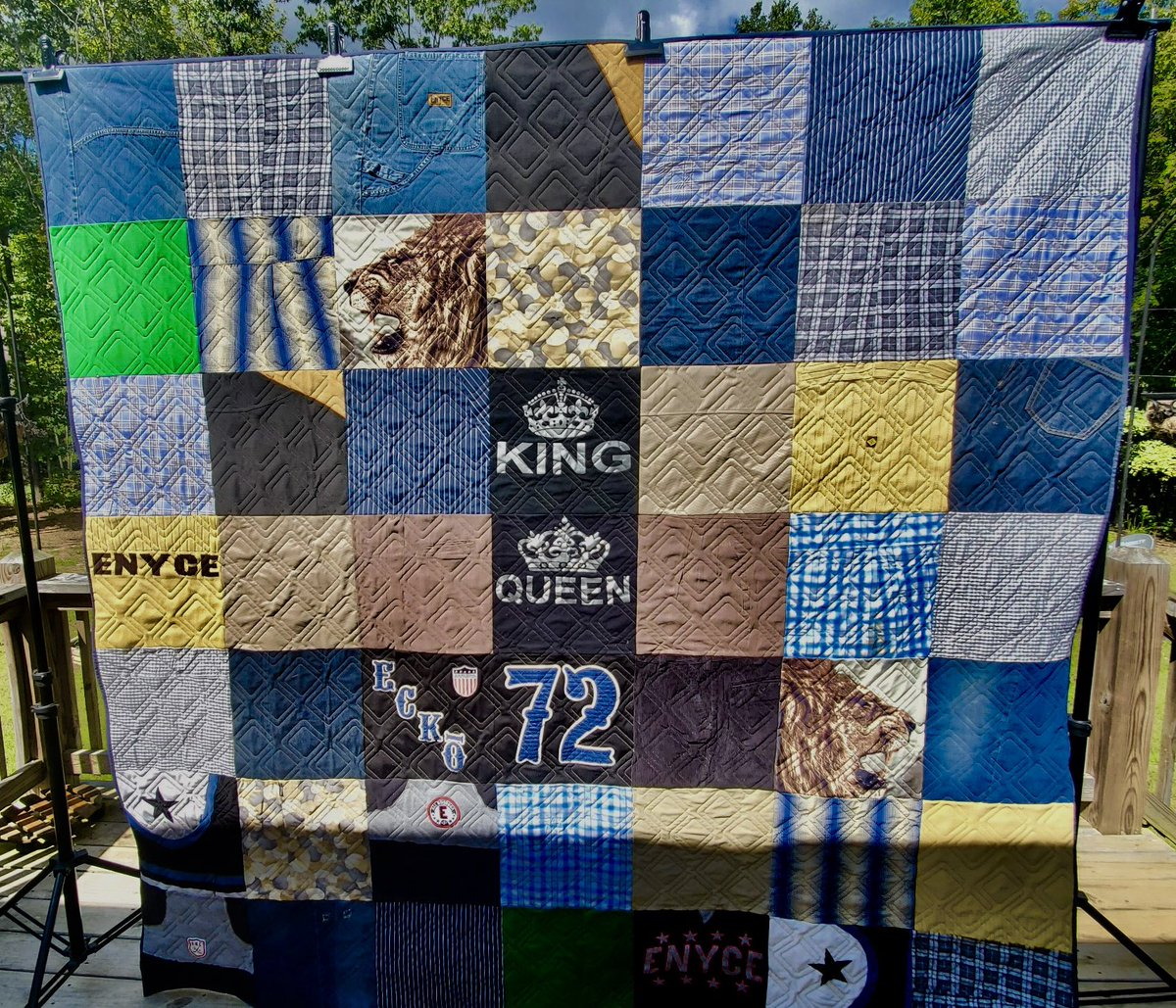 It's always such a joy to turn shirts and clothing into a quilt that can be snuggled under and   treasured for years to come. Poly Select Quilters Dream Batting and INNOVAtech thread was the perfect match for this quilt! #battgirls #memoryquilt #edgetoedgequilting #tshirtquilt https://t.co/lAxlBFn11p
