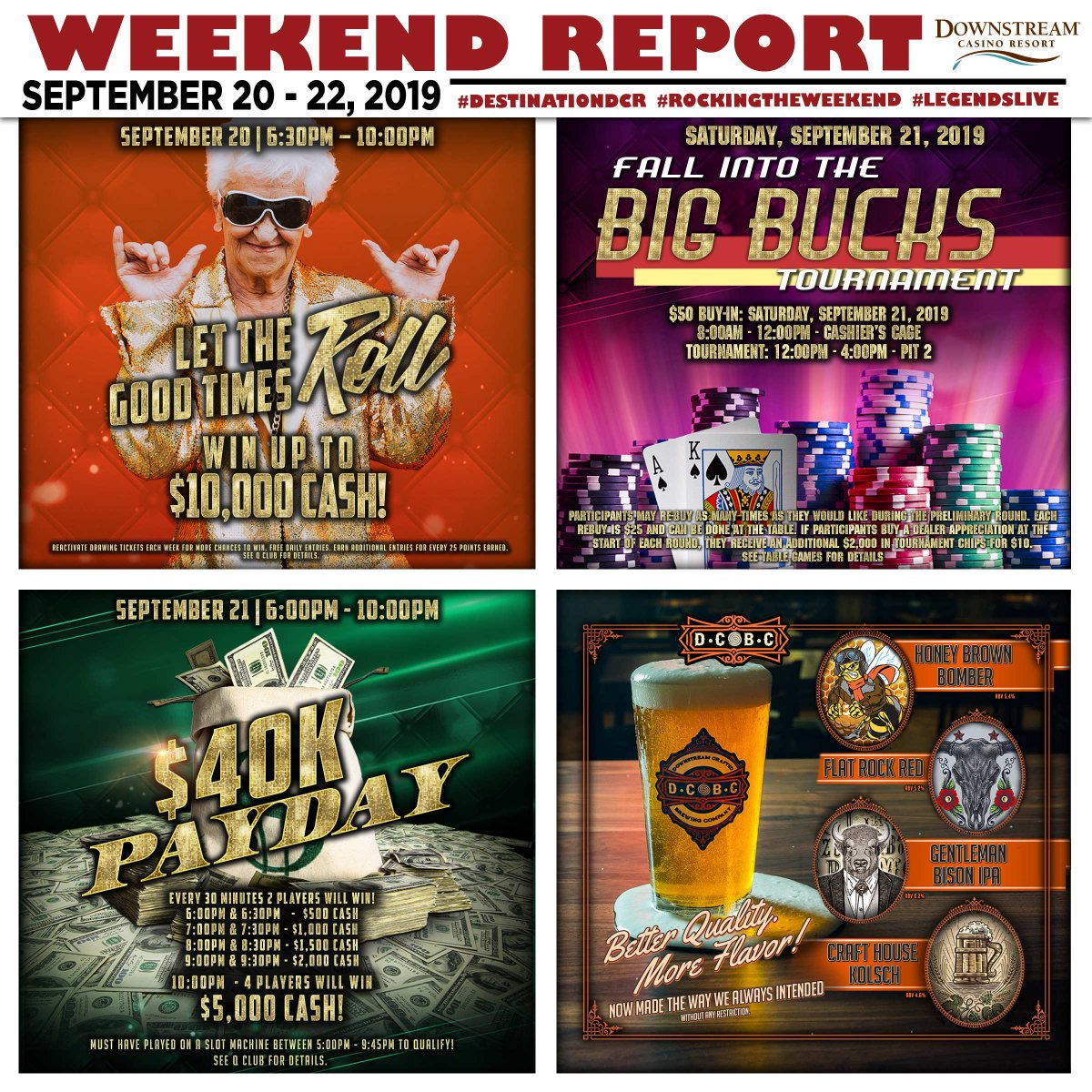 This weekend, Downstream Casino Resort is the place to be. #DCRPromotions #LegendsLive #weekendreport