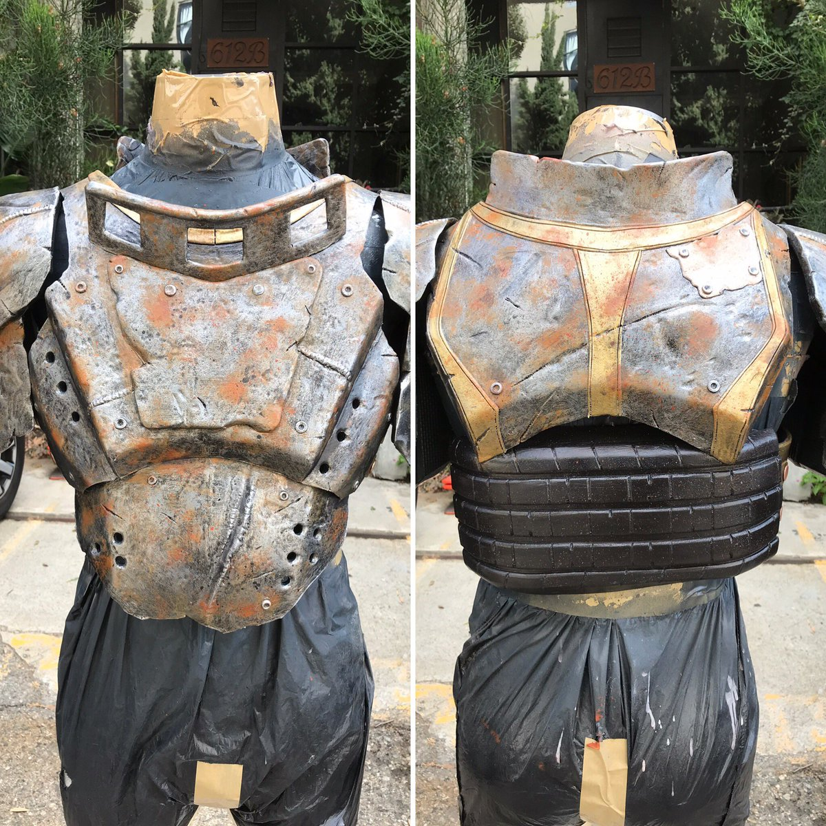 Fallout 4 Metal Armor is painted. Next step is to add strips of leather and rope. Join me on https://t.co/4njNSzw0T9 9am pst Monday. #cosplay #foam #foamsmith #fallout4 #metalarmor #diy #maker #eva #evafoam https://t.co/KbRKAp1Qtt