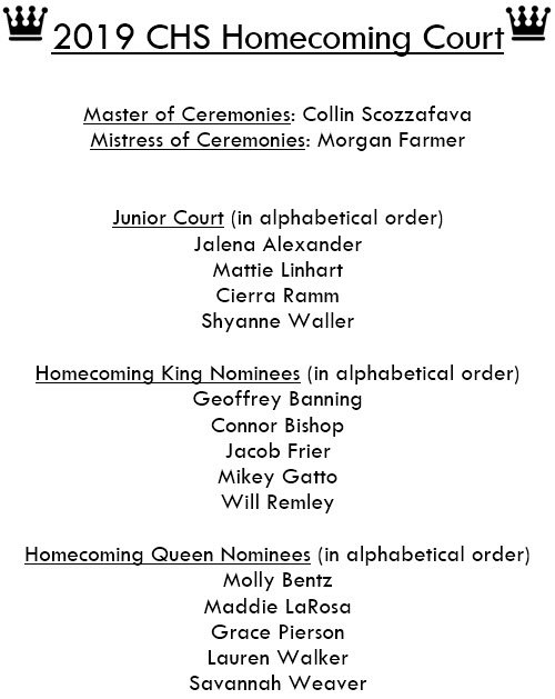 Congratulations to the 2019 CHS Homecoming Court!!! #onehurricane #Homecoming2019<br>http://pic.twitter.com/bwTHnuQh0R