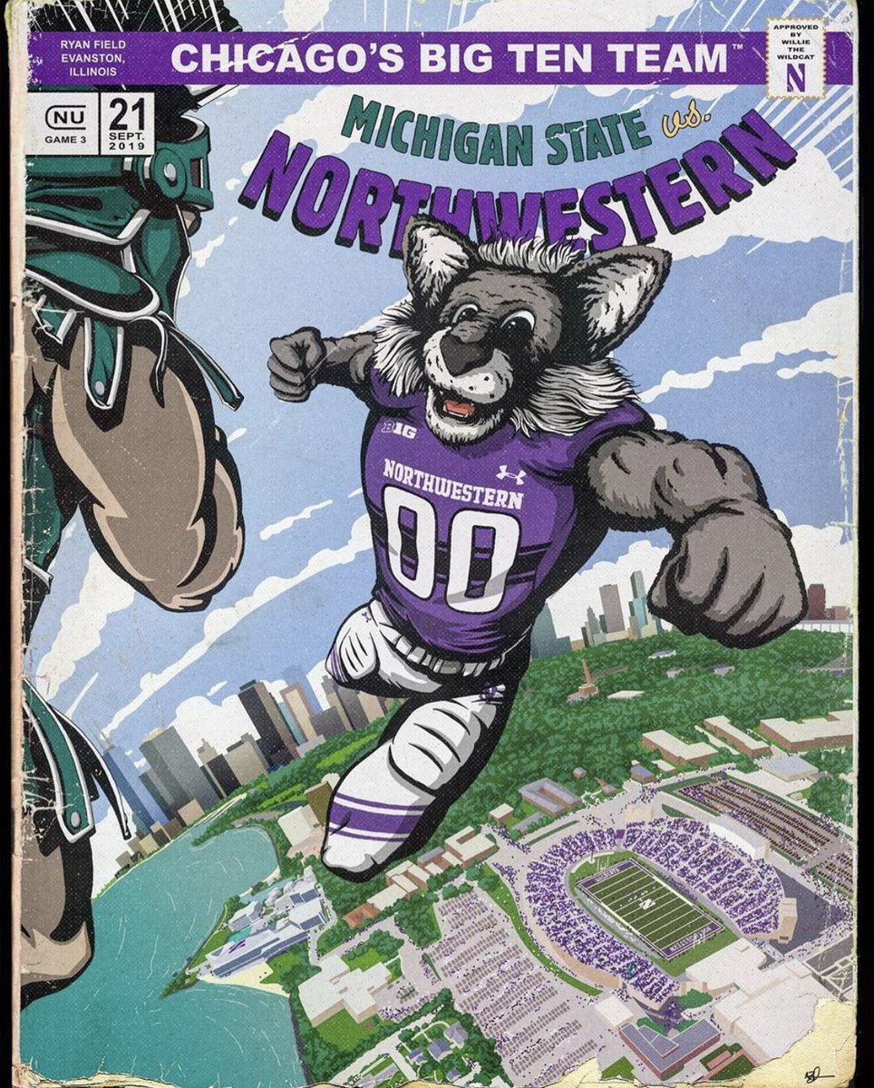 Sales of programs at stadiums have declined because of our digital world, but they have also have sold fewer because they are too cookie cutter. Nice job by @NUFBFamily commissioning @anthonyzych for this comic book program for Saturday.