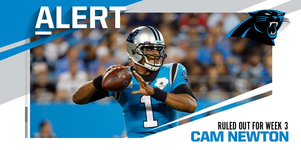 .@Panthers QB Cam Newton ruled out (foot) for Week 3 vs. Cardinals.