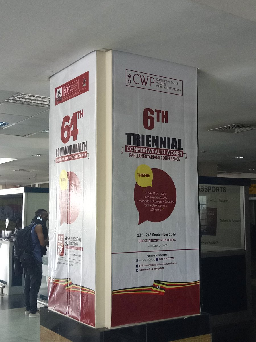 Well done @Parliament_Ug on the branding at Entebbe airport which is the gateway for all the visiting delegates for the Commonwealth Parliamentary Conference. 👌 #CPCU19 #CPC64