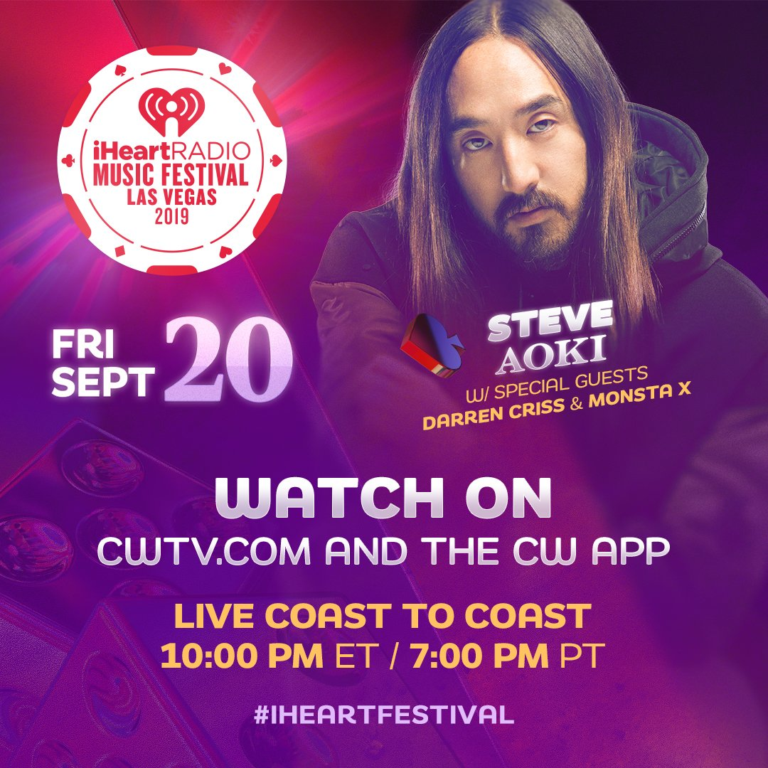 Psssst, #Monbebe! Catch @steveaoki's #iHeartFestival2019 performance TONIGHT to catch your faves @OfficialMonstaX on the main stage!  Tune in only on @TheCW:  http:// ihr.fm/WatchiHeartFes tival2019   … <br>http://pic.twitter.com/5oaWeLrRwA