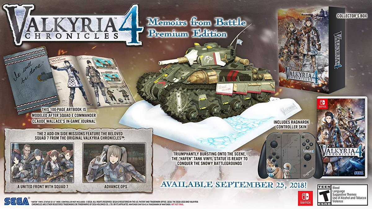Valkyria Chronicles 4: Memoirs From Battle Edition (complete with a statue of a tank, an artbook and a controller skin) is well over half off, down to $38- Switch: amzn.to/30euYw9 Xbox: amzn.to/2VdIdru