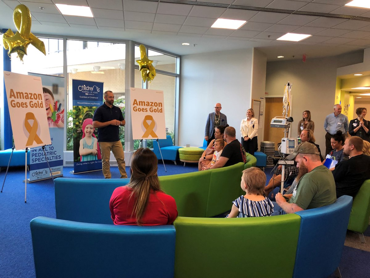 Our newest partner in doing whats right for kids - @amazon ! Today they announced a$30,000 donation to support @SitemanCenter Kids at St. Louis Childrens Hospital. They also provided #STEM activities in the clinic. #AmazonGoesGold#ChildhoodCancerAwarenessMonth.