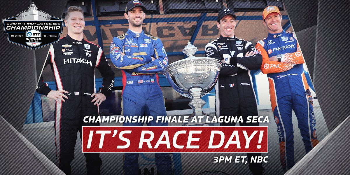 Four drivers. One champion. 🏆 ITS RACE DAY for the @IndyCar championship finale at @weathertechrcwy Laguna Seca! Tune in to @IndyCaronNBC at 3PM ET.