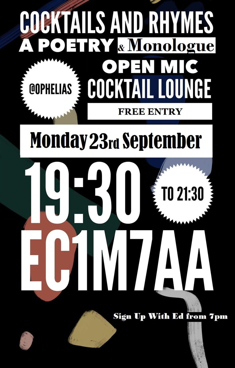 CALLING ALL POETS / ACTORS / WRITERS / EXCITERS Got an audition piece to practice? Just want to read some Shakespeare? Want to express yourself through Poetry?  Start the week in a creative way Come to Cocktails & Rhymes FREE ENTRY https://www.eventbrite.com/e/cocktails-rhymes-a-poetrymonologue-open-mic-tickets-71837559073?fbclid=IwAR37YG1QtHzGHD99QvZcNGzOwRksn8eo3aliiNprgSrrsv940I2oL1GxABE…