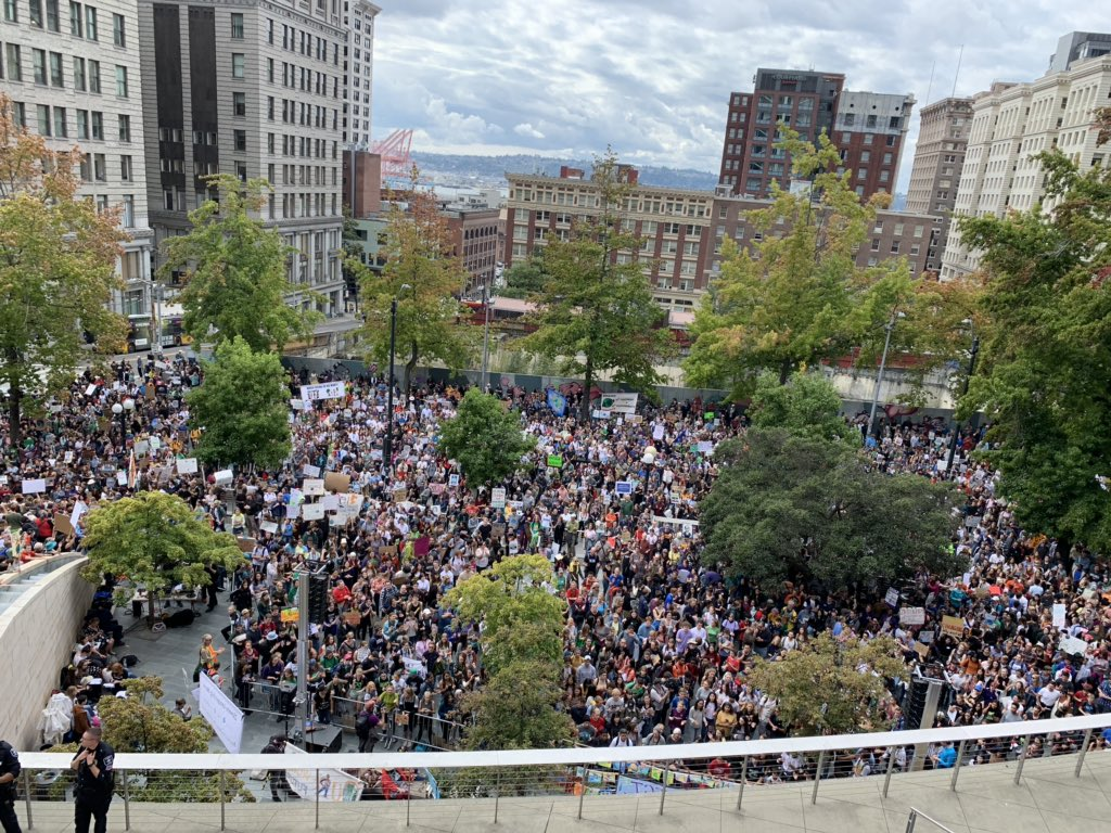 In Seattle, the march goes on seemingly forever. Here's a look from City Hall. #climatestrike