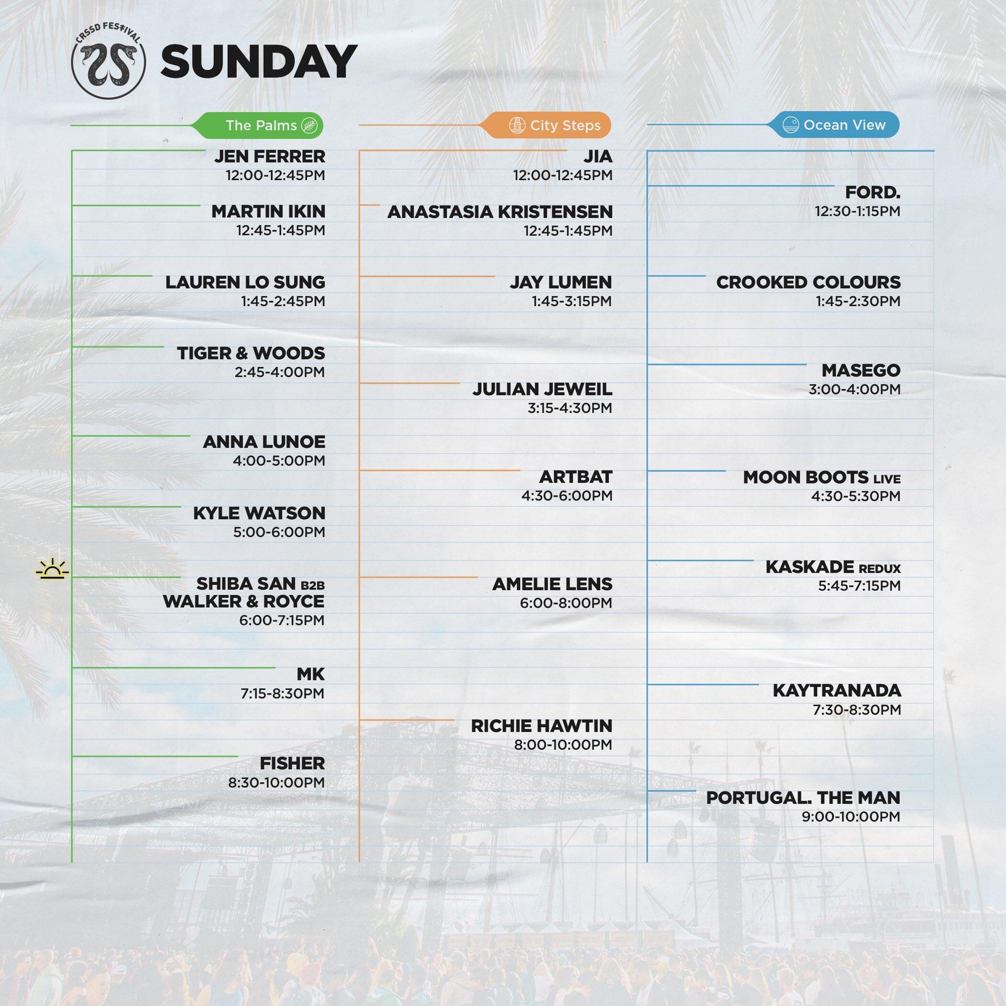 CRSSD Festival Fall 2019 schedule