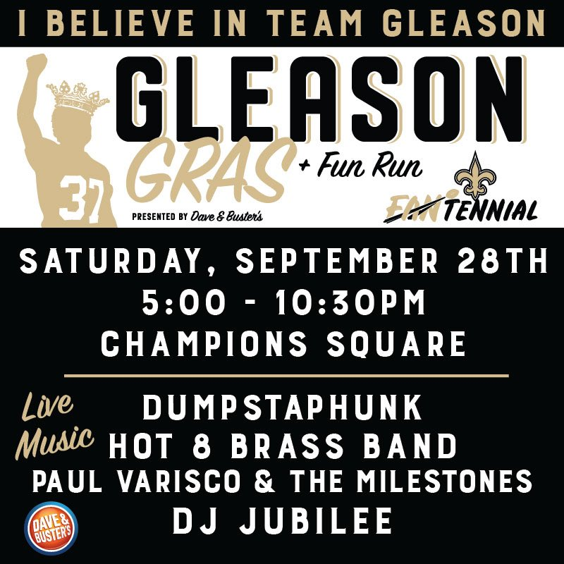 Come join @TeamGleason and myself at the 9th Annual Gleason Gras on Saturday September 28th! Check out gleasongras.org for more info! #GleasonGras #NoWhiteFlags