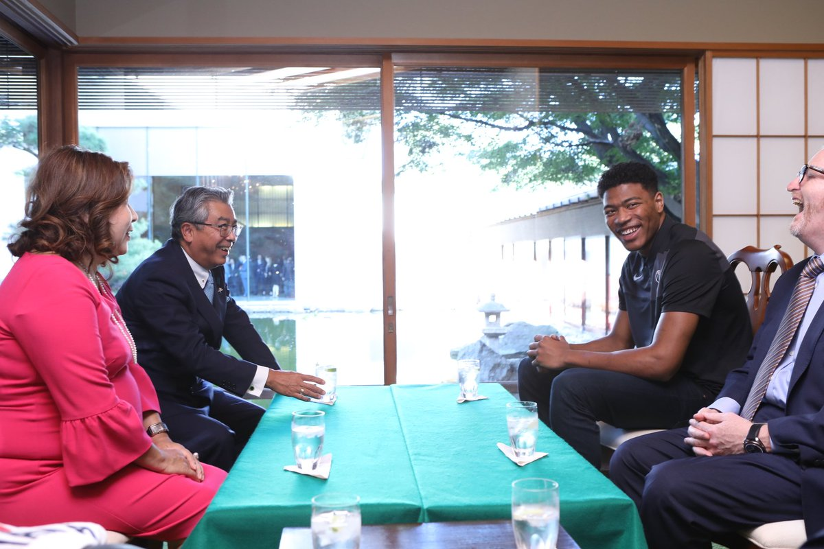 I know how busy you are ahead of your first @NBA season, so thank you @rui_8mura for joining me at my Residence today for a great first meeting. You have already begun building new Japan-US bridges, so I look forward to your success both on and off the court! -Ambassador Sugiyama