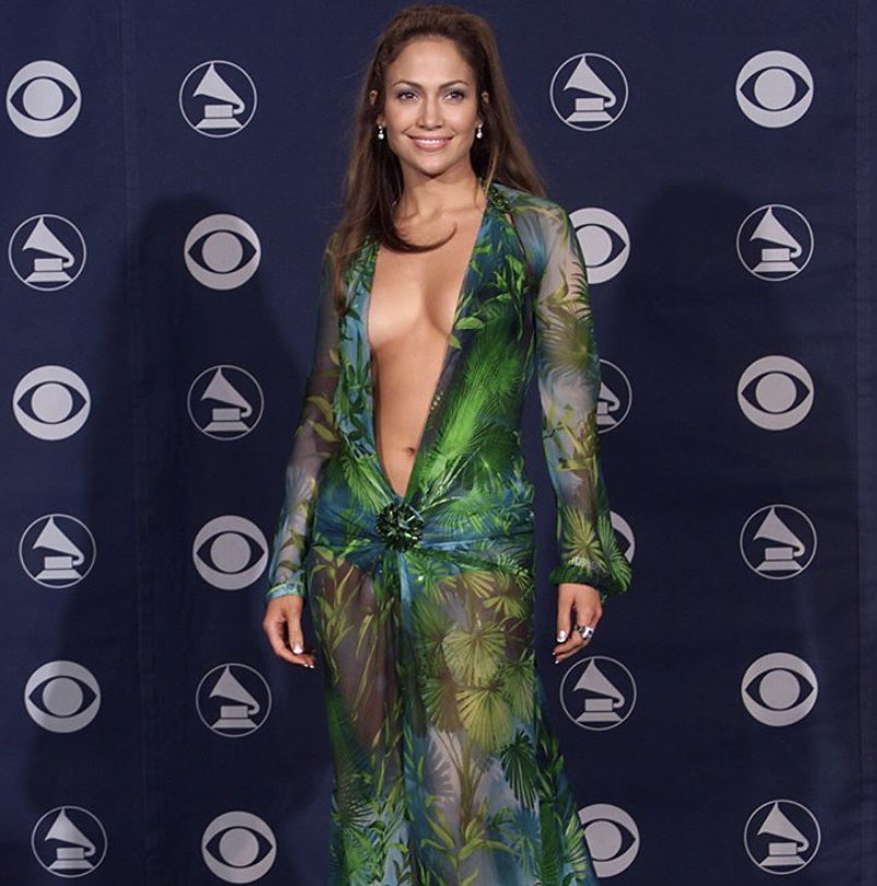 It all started at the 42nd #GRAMMYs in 2000.  Who could forget this show-stopping @Versace look #JLo wore?<br>http://pic.twitter.com/fVI5DFTyt0
