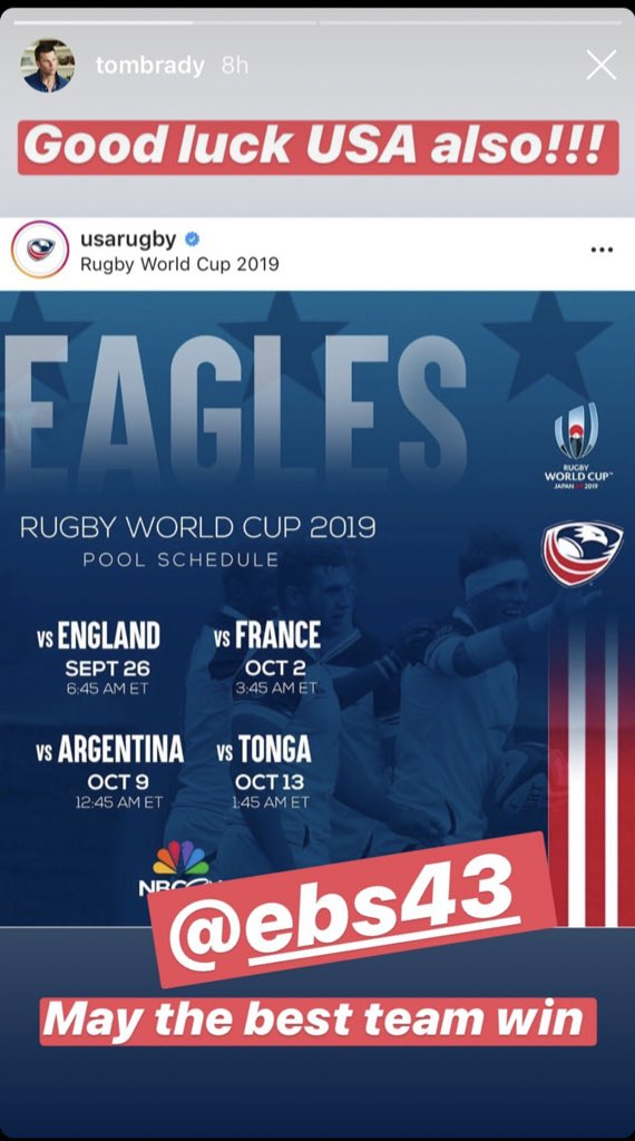 THIS JUST IN. @TomBrady got there. #EaglesUnited 🇺🇸 | #RWC2019