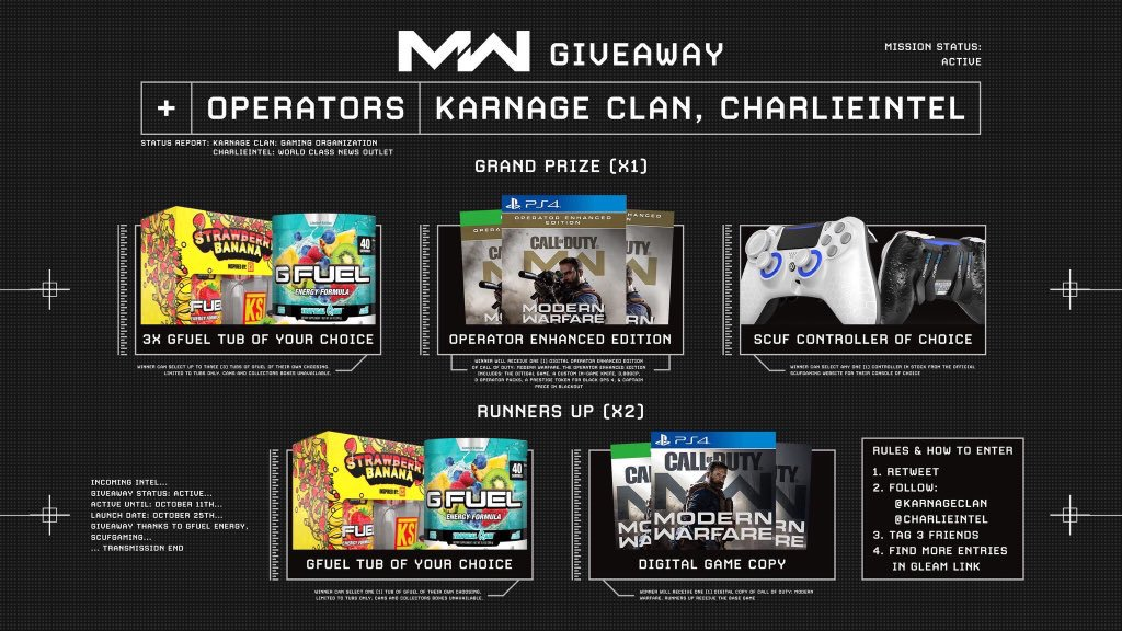 KARNAGE Clan x CharlieIntel are looking to set YOU up for the best COD launch you've had with the Ultimate Giveaway! #ModernWarfare    How to enter: • Follow @KARNAGEclan • Follow @charlieINTEL • RT + Like this tweet  More ways to enter!  http:// bit.ly/UltimateMW    <br>http://pic.twitter.com/kCJ7Tt6Oob