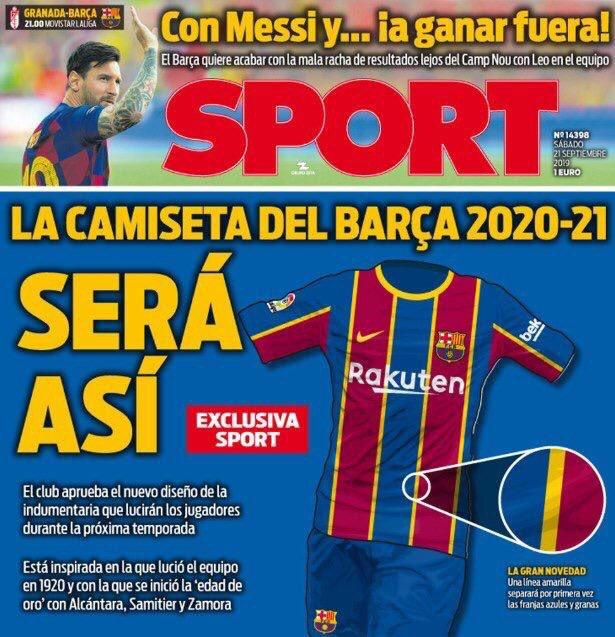 El diario Sport reveló lo que será la camiseta del FC Barcelona para la temporada 2020-2021