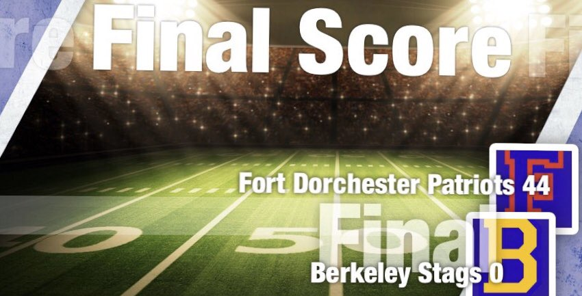 End Of 4th Quarter (Final Score): Fort Dorchester Patriots: 44 Berkeley Stags: 0 <br>http://pic.twitter.com/RiHDx5m1BP – à Fort Dorchester High School