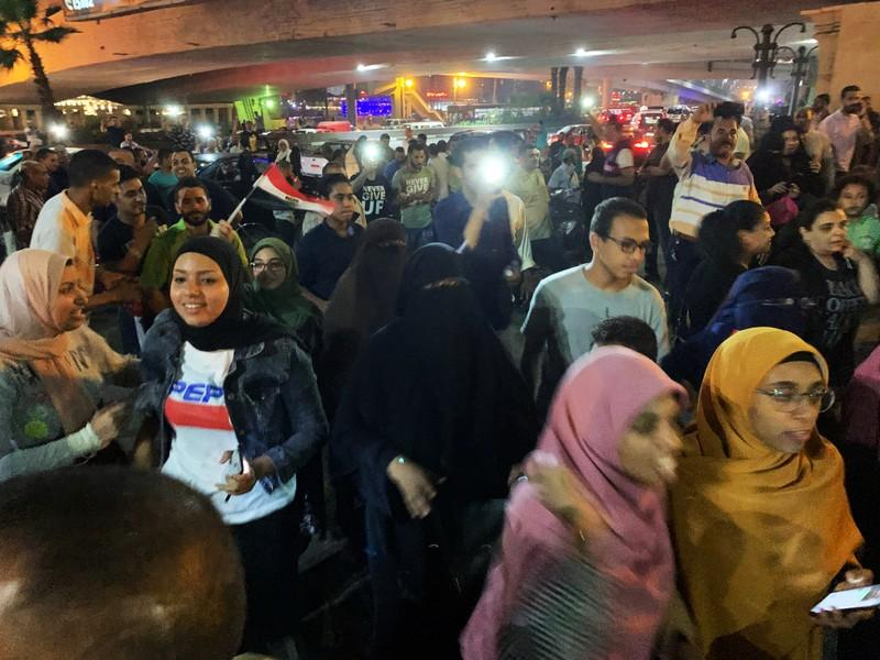 Small but rare protests in Egypt after online call for dissent