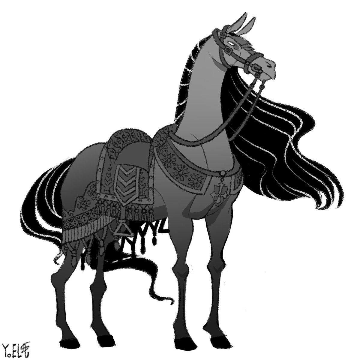 Notoriah's horse.  I just found out horses are hella difficult to draw.  #yoelart #horse #stallion