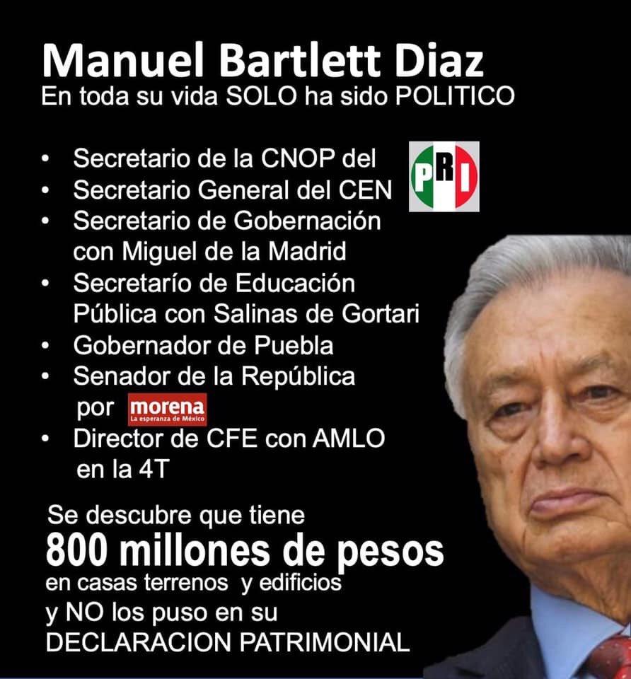Bartlett en toda su vida solo ha trabajado de político y hoy tiene más propiedades que el Nopal. #BartlettBienesRaices