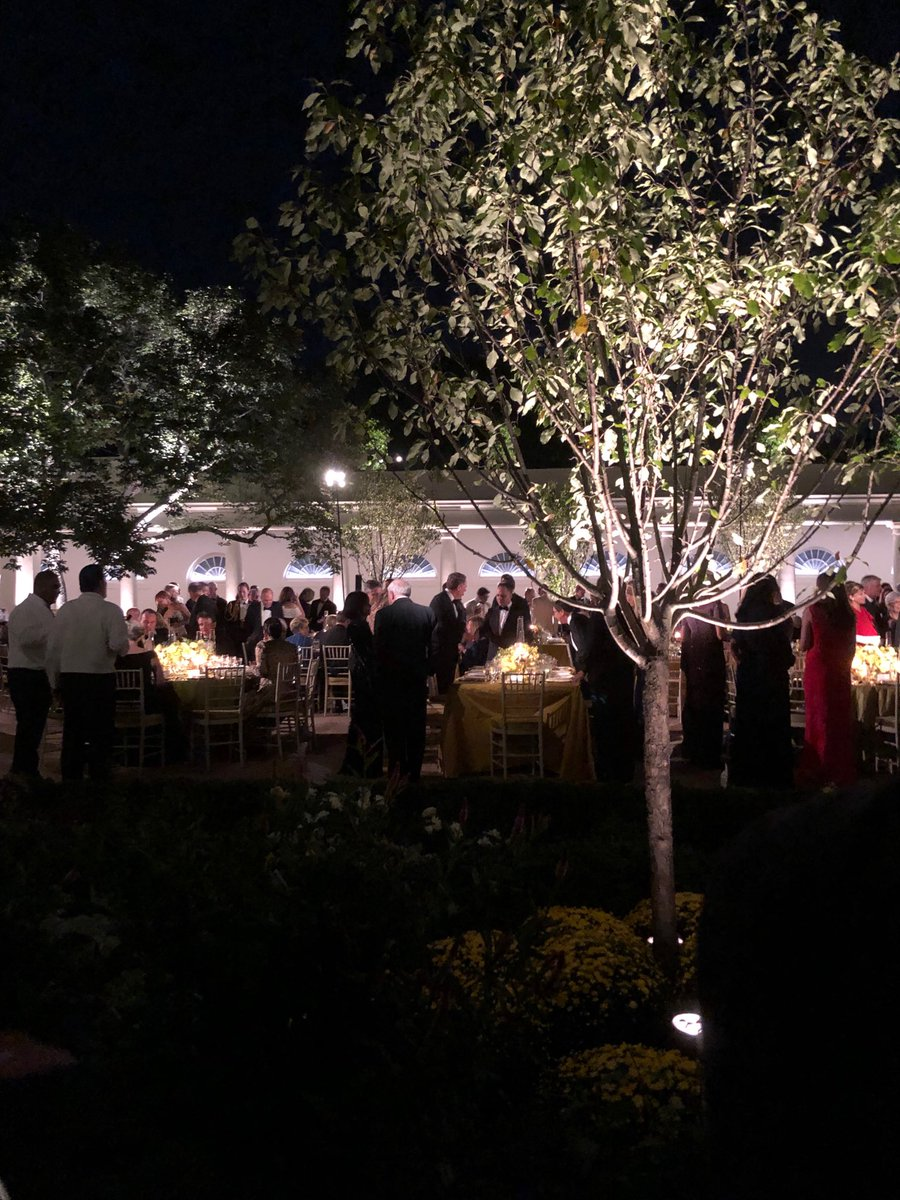 A view of the state dinner itself in the Rose Garden. <br>http://pic.twitter.com/RAgIAkmzZB