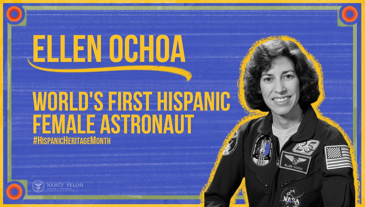 As the first Hispanic female astronaut, Ellen Ochoa has shown generations of young women that they too can follow their dreams of exploring space. Ochoa's continued work to mentor women reminds us all to lift as we climb. #HispanicHeritageMonth <br>http://pic.twitter.com/rXNSmU9iAg