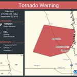 Image for the Tweet beginning: Tornado Warning continues for Harwood