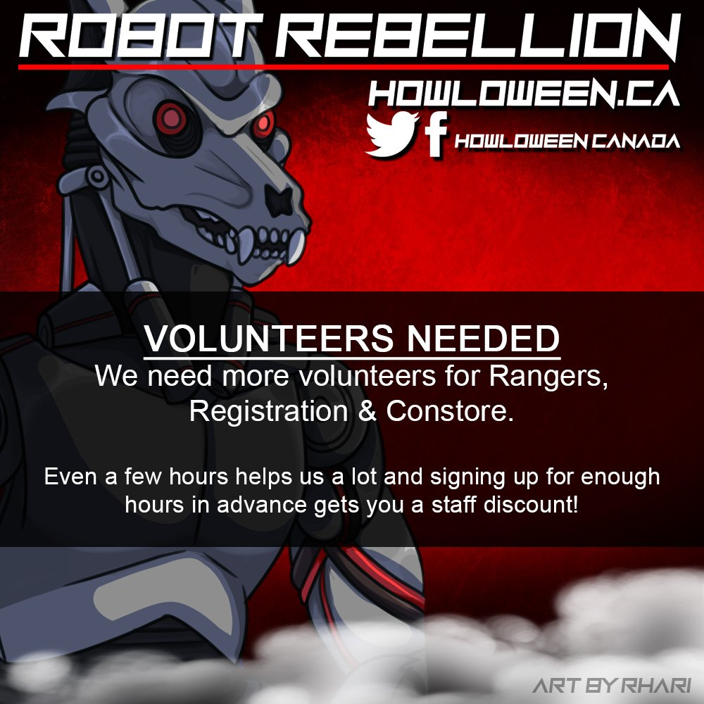 The Robot Rebellion needs you! We need Rangers, Registration and Con Store staff! Please share and/or sign up to volunteer (even a couple hours helps) at  http:// howloween.ca/#events     !  by @Rhari  #volunteer #event #convention #furcon #furrycon #howl2019 #howloweencanada #furry<br>http://pic.twitter.com/7udX2v863J