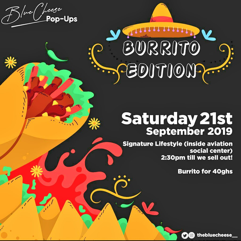 It's Tex-Mex day guys!!! Come benchmark your tastebuds with a whole new flavour profile. It's a Beef Burrito ting... LETS GEEAAUUUUXXXX!!! #BlueCheesePopUps <br>http://pic.twitter.com/hg737sDbhD