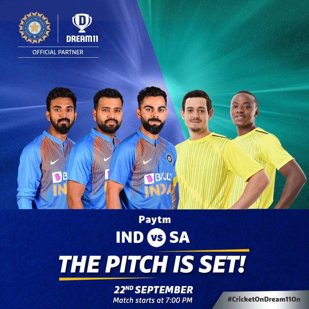 The stakes are higher this time. Which players are in your #Dream11 for the 3rd T20I of the Paytm-IndvsSA series? Click here to create your teams for #INDvSA - http://d11.co.in/INDvsSA#INDvsRSA