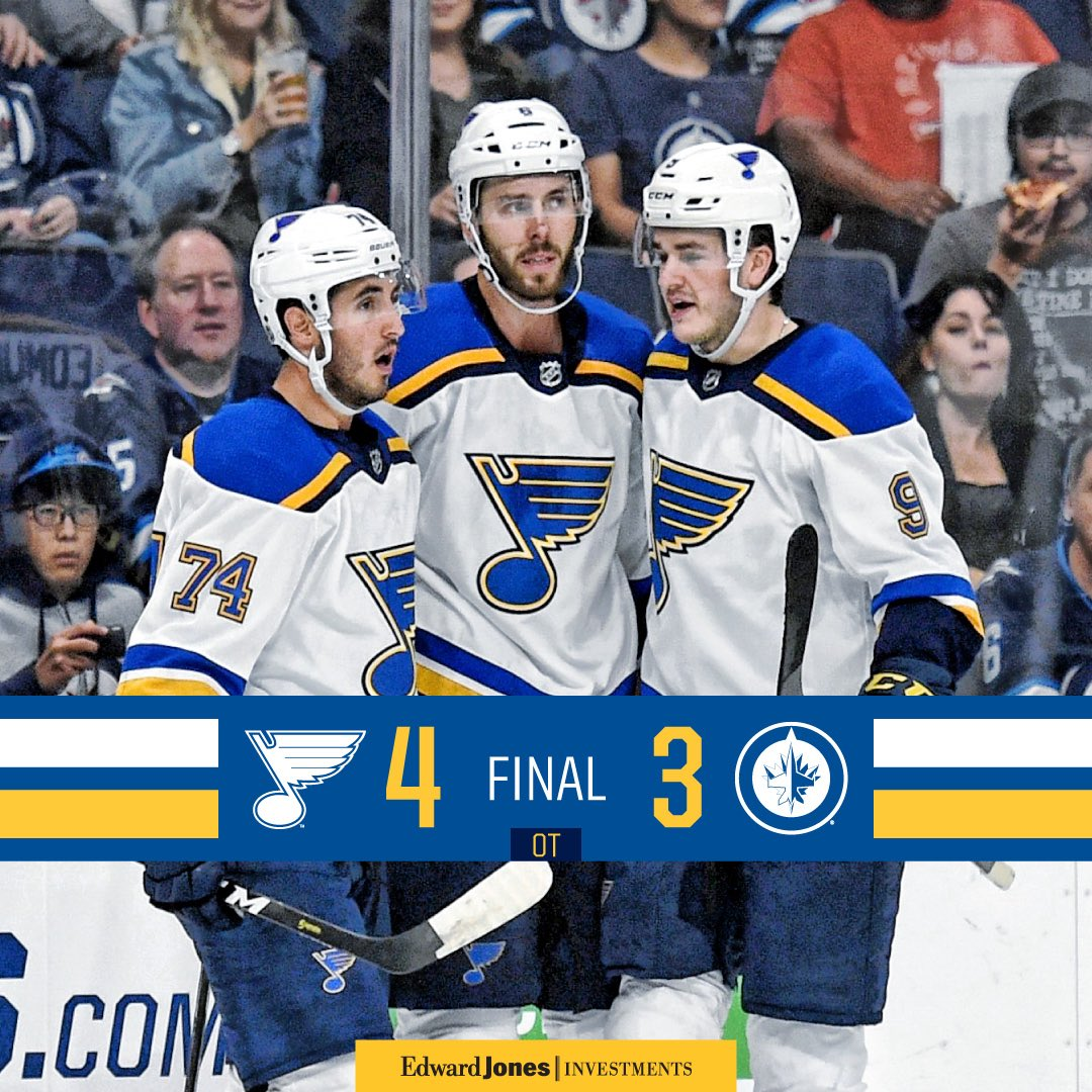 BLUES WIN!! Perron scores twice late, including the overtime winner, to propel the #stlblues to a win over the Jets.<br>http://pic.twitter.com/ICa1xPy7dI