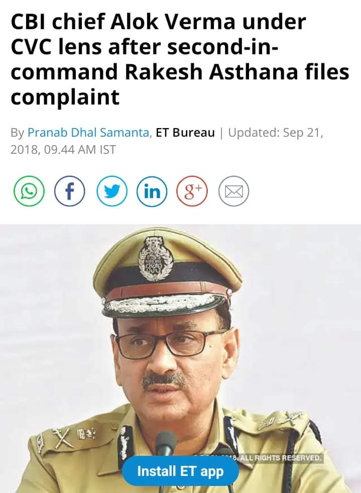 What is the outcome of the Complaint of Alok Verma against Asthana?   System    Or corrupt officials are safe in Modi regime? <br>http://pic.twitter.com/KkSHHsAeeJ