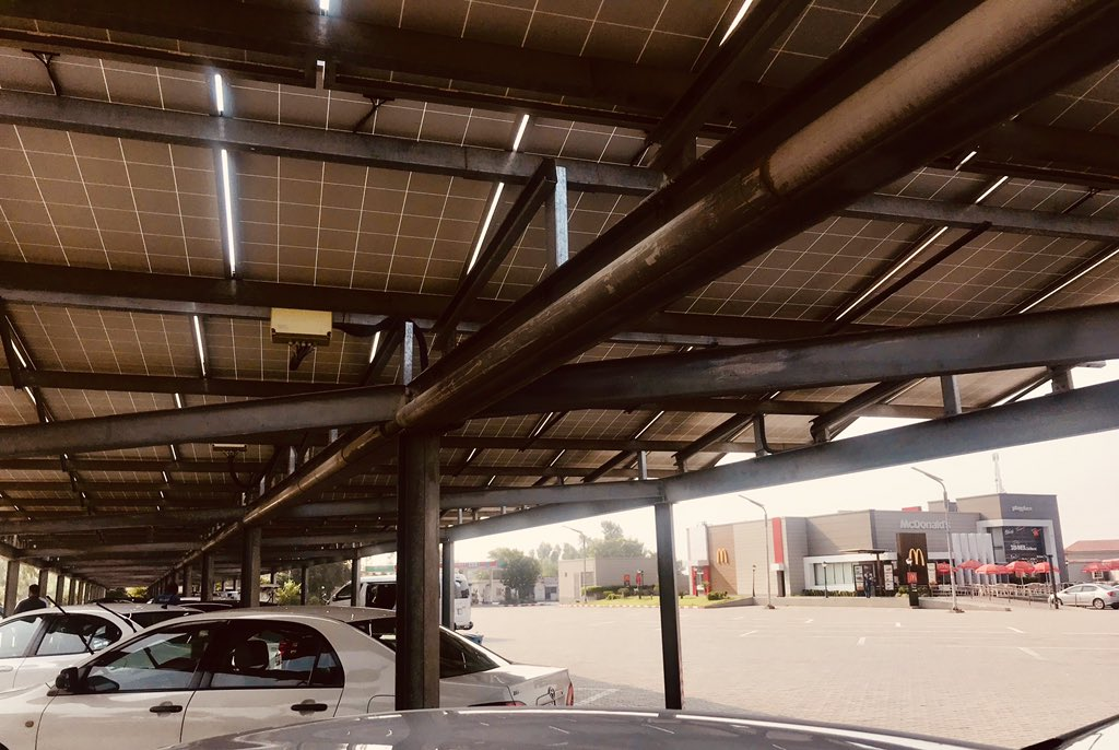 The best parking sheds are solar! Hats off to whoever thought of investing in this at Bhera. Aik teer say do shikar.