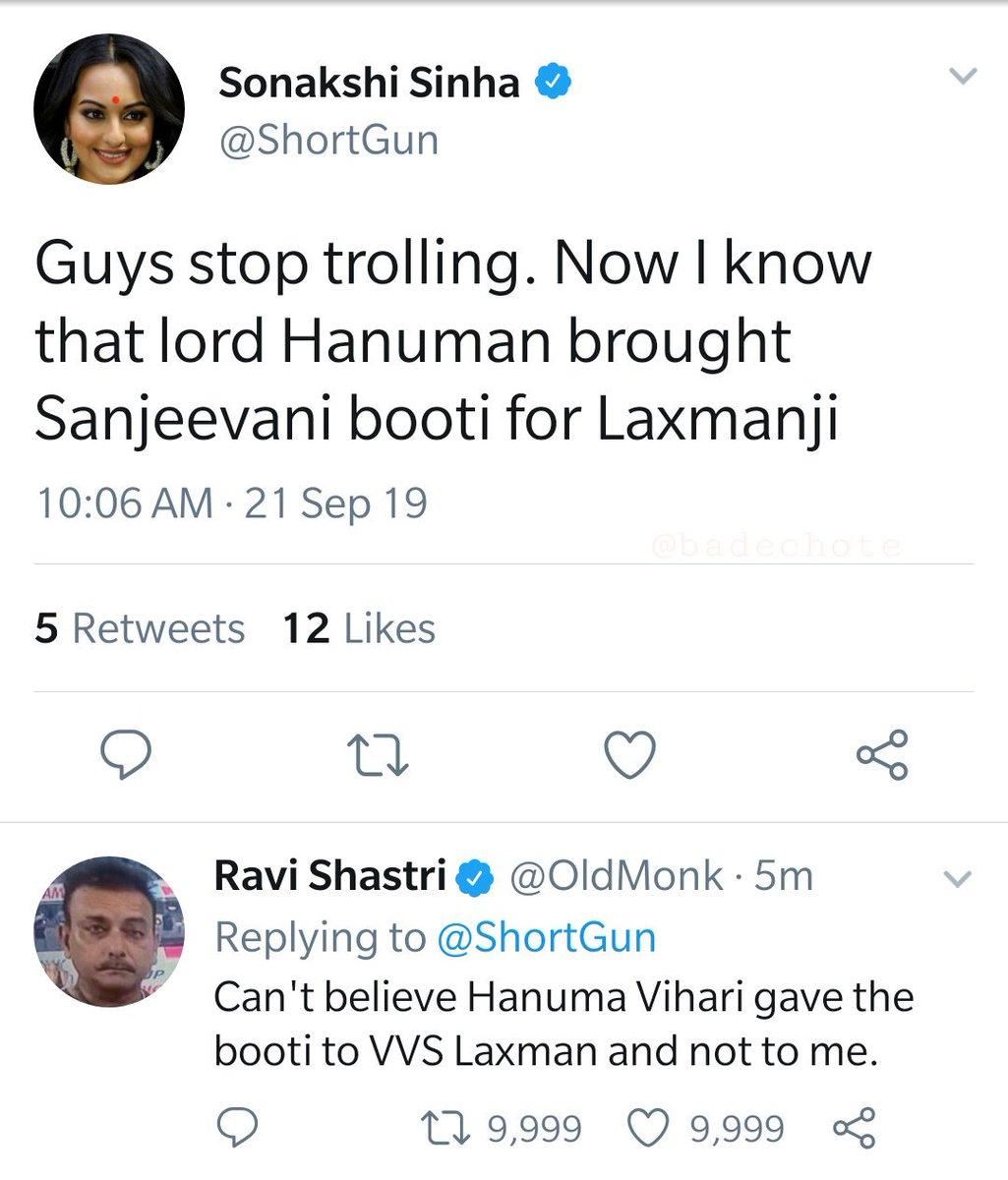 #SonakshiSinha vs #RaviShastri