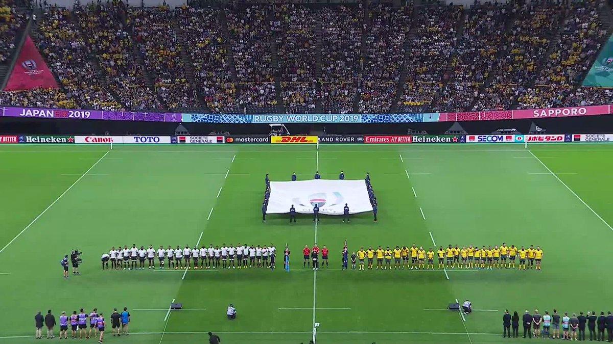 . @fijirugbys emotional national anthem ahead of their match with @wallabies #AUSvFIJ #RWC2019 #SuperSaturday