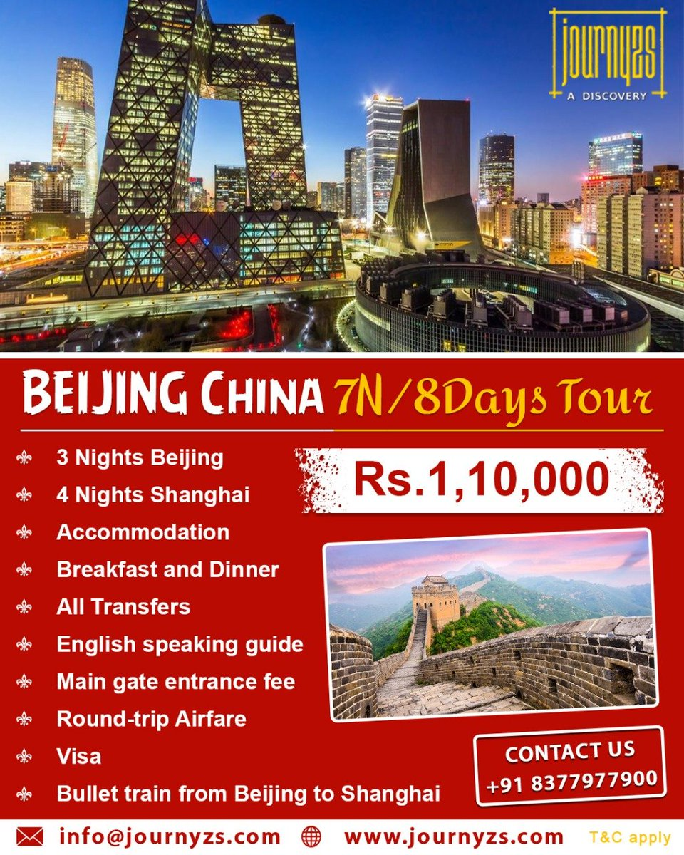 Book NowBEIJING CHINA 7N/8D TOUR Cost @ Rs. 1,10,000/--> 03 Nights Beijing.-> 04 Night Shanghai.-> Bullet train from Beijing to Shanghai.Call / Whatsapp 8377-977-900Email us-> info@journyzs.comCheck us on-> http://www.journyzs.com#Journyzs #GoThere #travel #TravelMoment