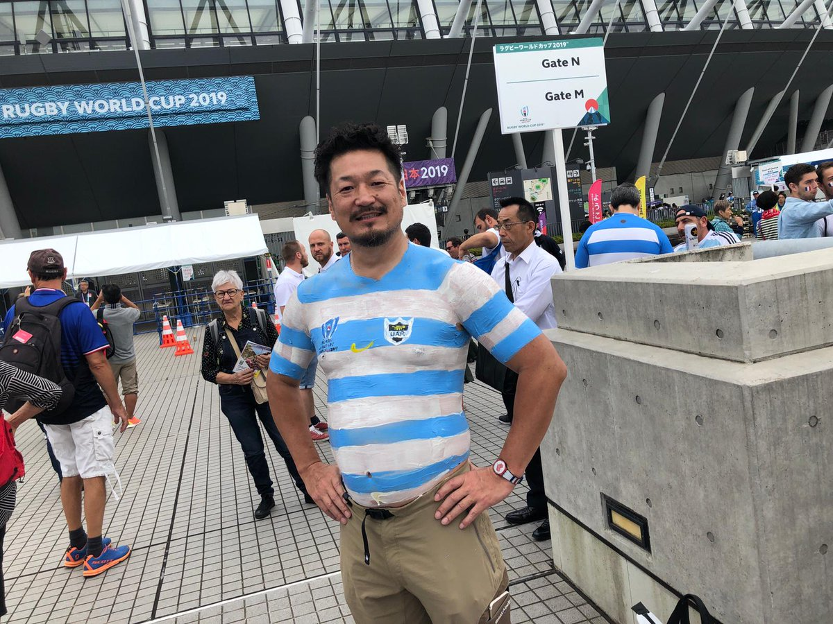 test Twitter Media - Famous Japanese fan Bak-san has said he would paint all 20 team jerseys on his body throughout #RWC2019   Not all heroes wear capes. Literally. https://t.co/84ovjucLGB