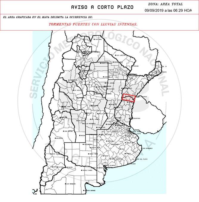 Aviso a muy Corto Plazo 2019-09-09 06:29:00 Validez : tres horas desde su emisión TORMENTAS FUERTES CON LLUVIAS INTENSAS.