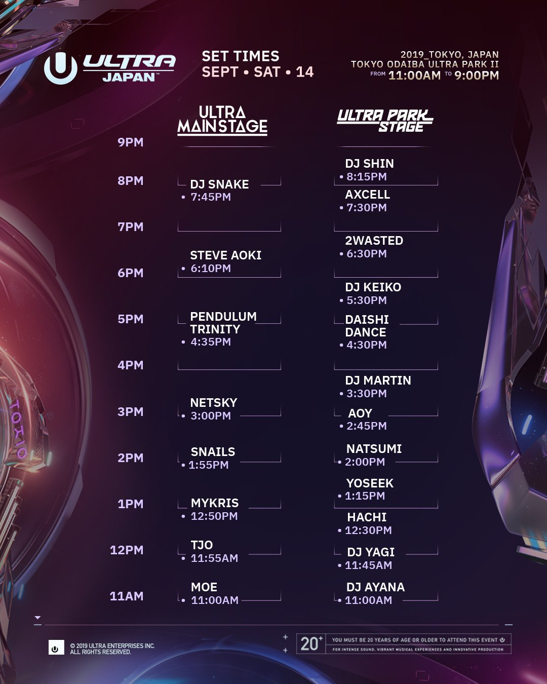 Ultra Japan schedule