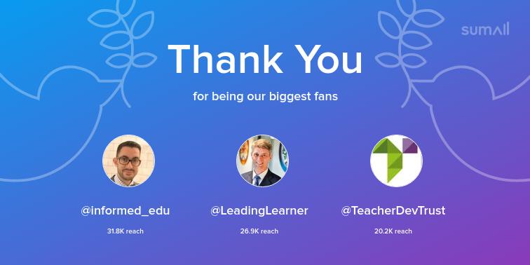 Our biggest fans this week: informed_edu, LeadingLearner, TeacherDevTrust. Thank you! via sumall.com/thankyou?utm_s…