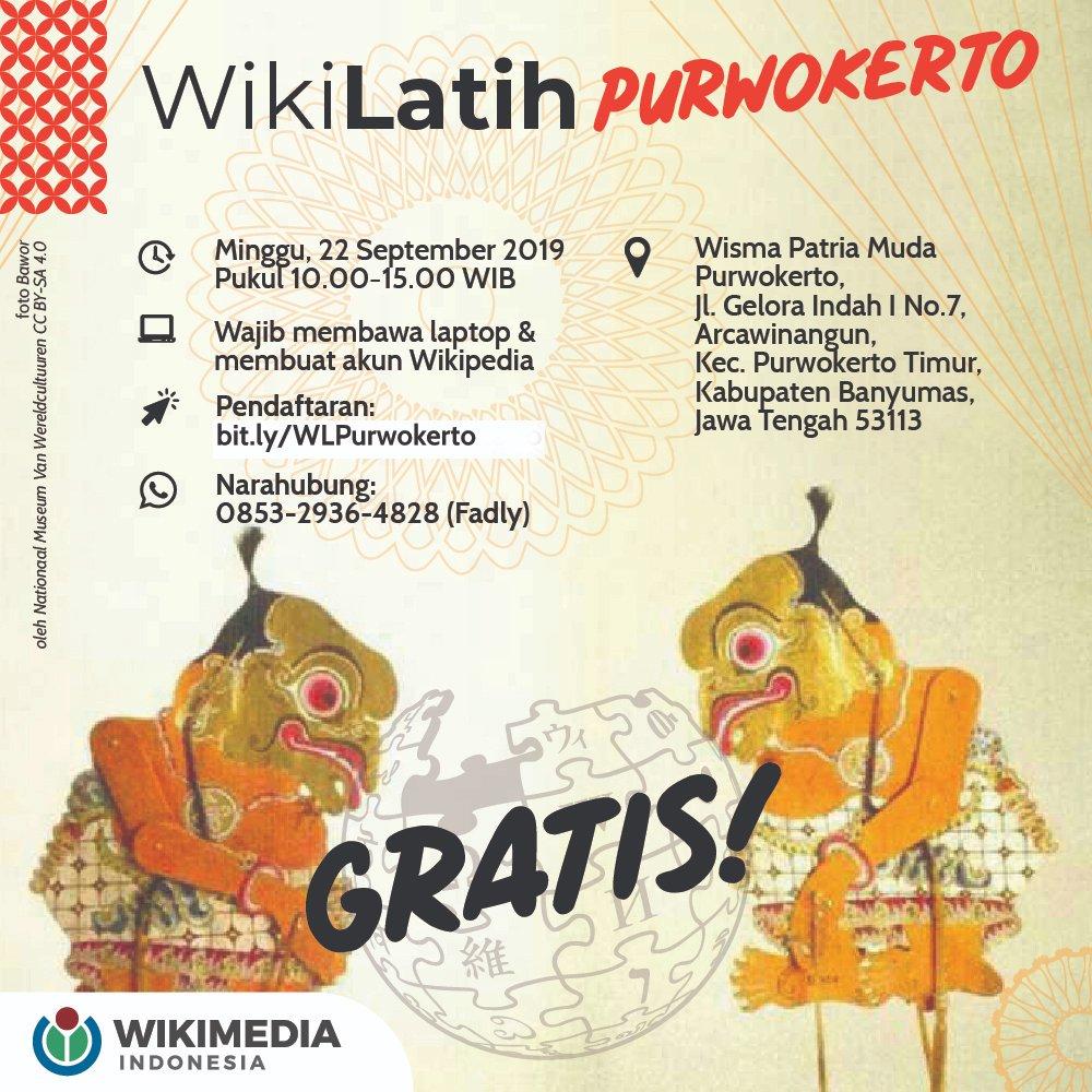 [Perubahan pranala pendaftaran] Halo, Kawan Wiki Purwokerto!  Wikimedia Indonesia bersama Komunitas Local Guides Purwokerto akan menggelar WikiLatih pada Minggu, 22 September 2019. Jangan sampai ketinggalan!  Daftar sekarang di: https://t.co/dmdmSdaDmr https://t.co/J6obw6Uksf