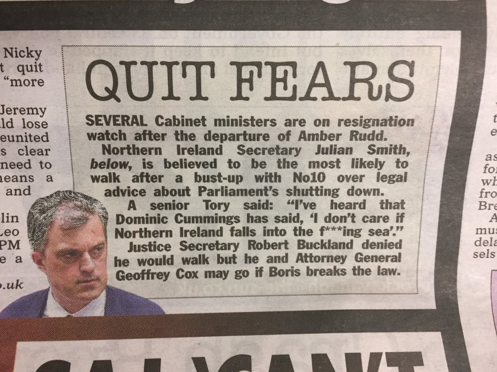 """Senior Tory: """"I've heard that Dominic Cummings has said 'I don't care if Northern Ireland falls into the f@@king sea'."""" #gulp #making #waves #confidenceinshortsupply"""