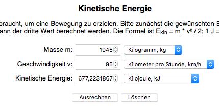 berechnung kinetische energie