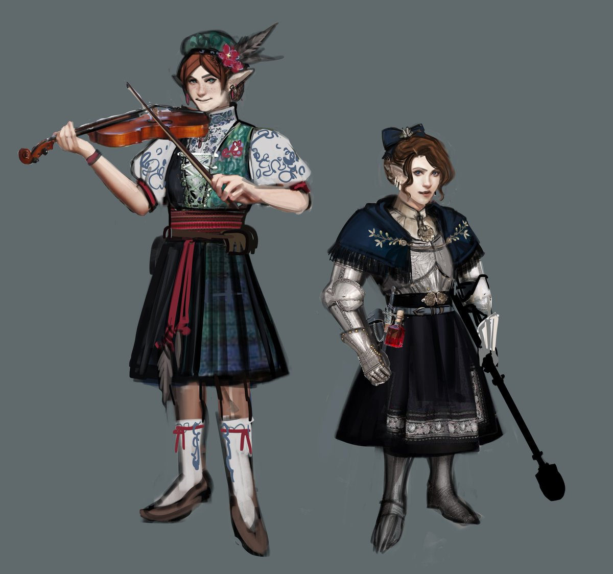 elf bard and halfling cleric inspired by Scandivanian traditional dresses  #dungeonsanddragons <br>http://pic.twitter.com/ptbPIIf6XY