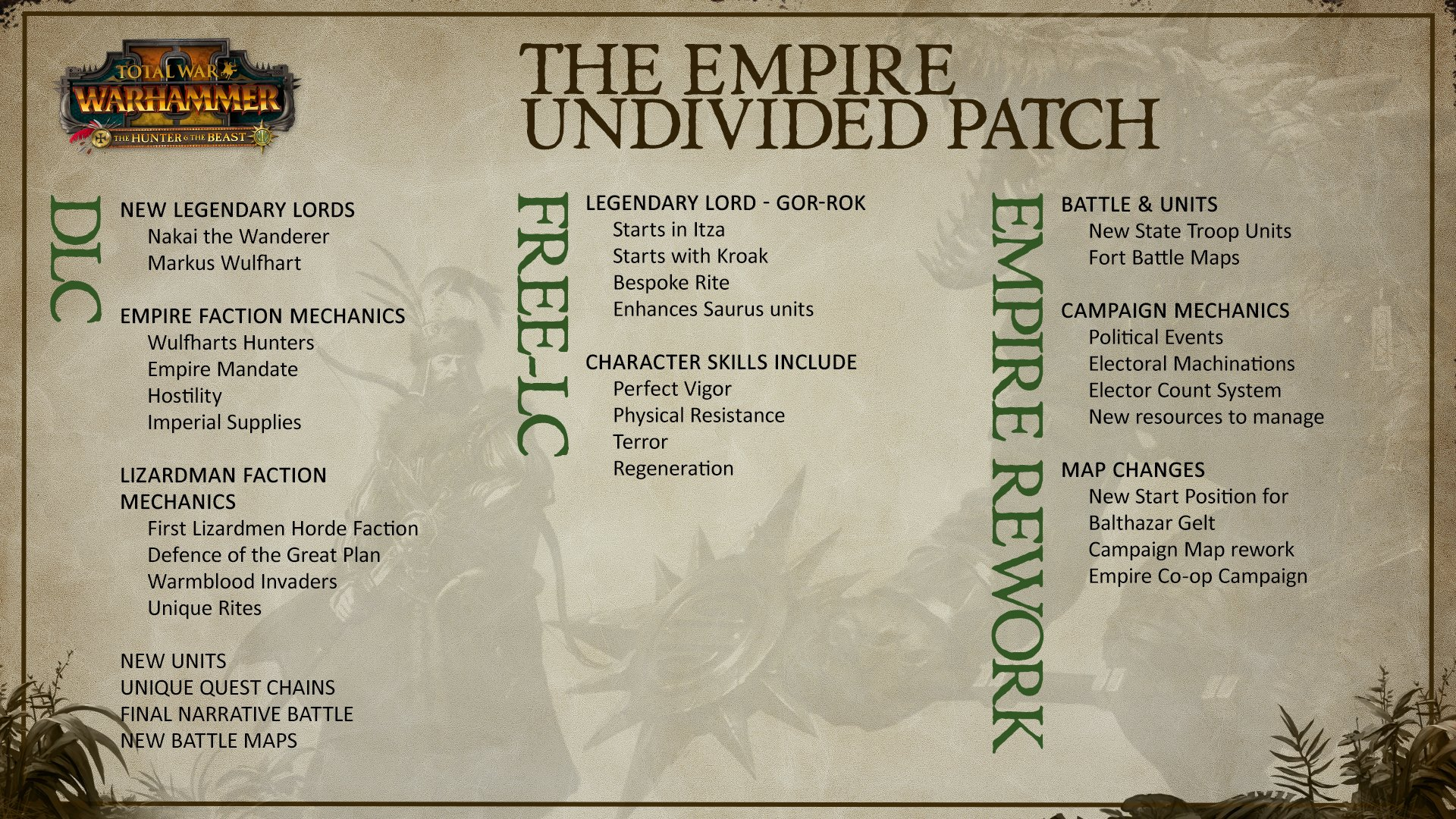 Total War On Twitter Confused About What S Coming In The Next Patch Got Your Dlc Mixed Up With Your Free Lc Take A Look At This Graphic To Find Out What Goes Where He can be randomly encountered in the wilderness and he often stops at inns to share his stories. total war on twitter confused about