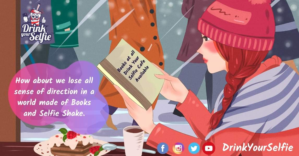 How about we lose all sense of direction in a world made of Books and #SelfieShake. Books at all Drink Your Selfie Cafe Available. #drinkyourselfie #selfiemainepeeliaaj #selfiecoffee  #mugcakes #selfielove #selfie #vimannagar #pune #bestshakes #kharadi #pheonix #books