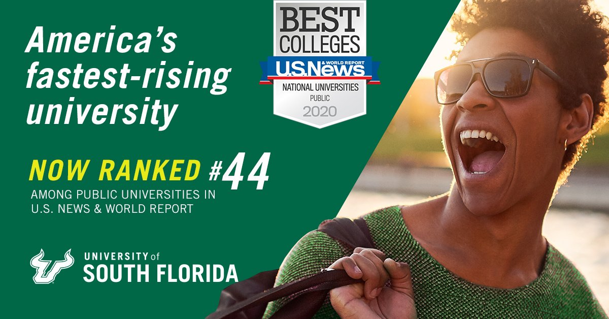 A university on the move– #USF enters top 50 in @usnews #BestColleges rankings for the first time. #GoBulls      http:// bit.ly/2lCuEnD    <br>http://pic.twitter.com/n0YTo3RcS9