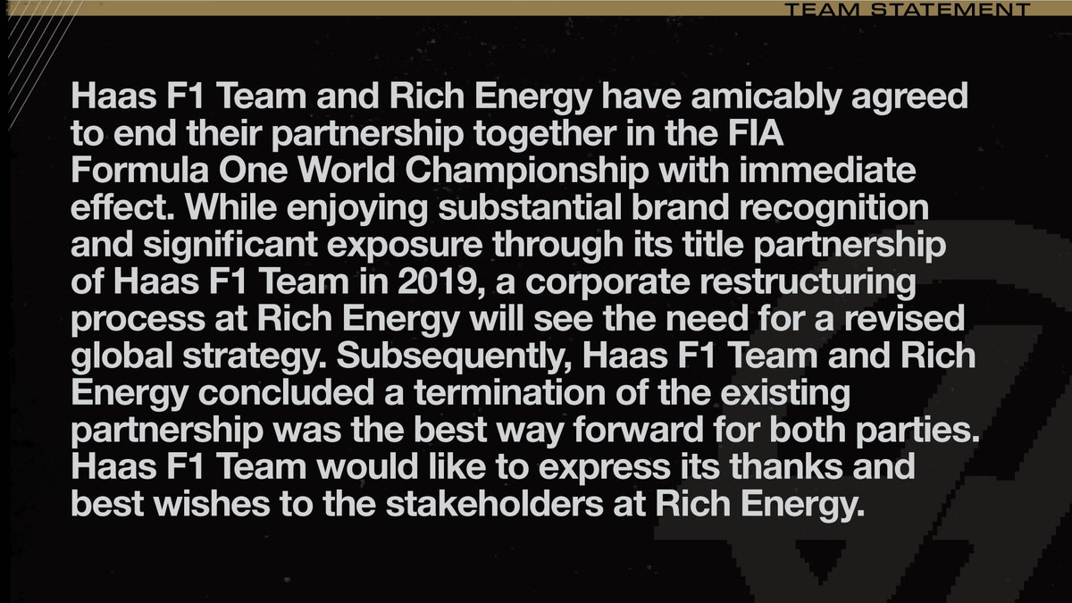 Haas F1 Team Statement on Rich Energy.